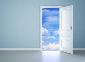 The door opens